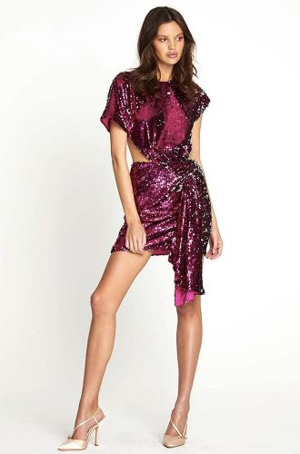 Purple Sequin Wrap Dress