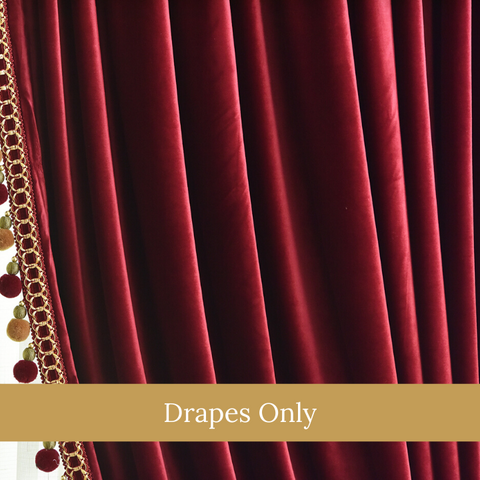 Red Velvet European Style Curtain Drapes