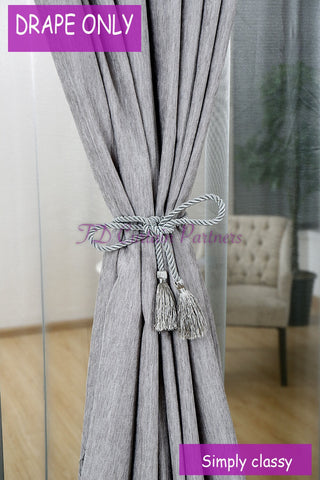 Blockout Grey Chenille Fabric Drapes Bedroom Curtain
