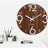 "12"" Luminous Large Wall Clock Quartz Wooden Silent Non Ticking Dark Brown Modern Home Room Décor"