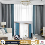 Blue Grey Combo Blockout Curtain Drapes