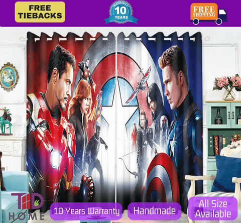 Marvel Avengers Captain America 3D Blockout Curtain Kids Bedroom
