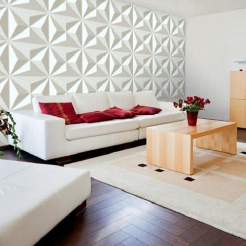 12Pcs 3D PVC Wall Paper Panel Tiles Diamond Design Sticker 500x500mm