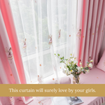 Pink Flower Fairy Girl Bedroom Curtains Kids Room Drapes