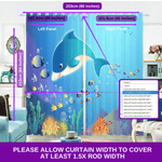Underwater 3D Blockout Curtains Blue Nemo Fish Kids Window Drape