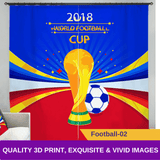 Football 3D Blockout Curtains World Cup Soccer Window Drapes