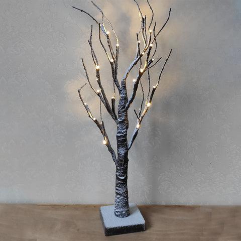 24 LED Snow Tree Night Light Warm White Twig Branch Christmas Holiday Décor