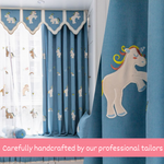 Rainbow Unicorn Pink Blue Blackout Swag Curtain for Kids Room