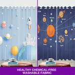 Blue Planet Space Universe 3D Blockout Curtain for Kids Bedroom