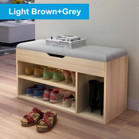 2 Tier Shoe Bench Storage Rack Stool Cushion Seat Organizer Shelf 80x30x45cm