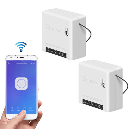 2 Pieces Mini Two Way Smart Switch Works with Amazon Alexa Google Home Assistant Nest Supports DIY Mode Allows to Flash the Firmware