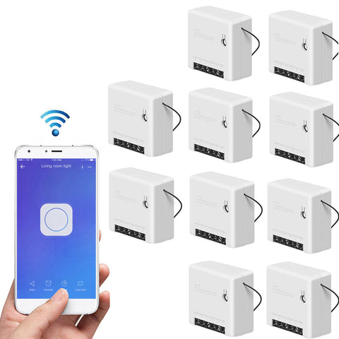 10 Pieces Mini Two Way Smart Switch Works with Amazon Alexa Google Home Assistant Nest Supports DIY Mode Allows to Flash the Firmware