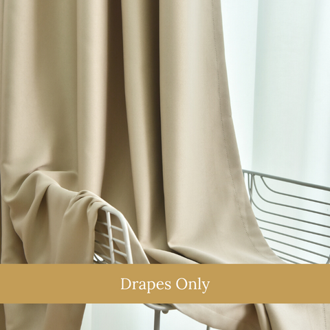 Beige Blockout Top Quality Fabric Curtain Drapes