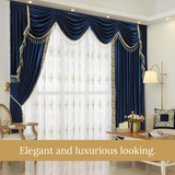 Blue Sapphire Italian Velvet Fabric Luxury Curtain Drapes