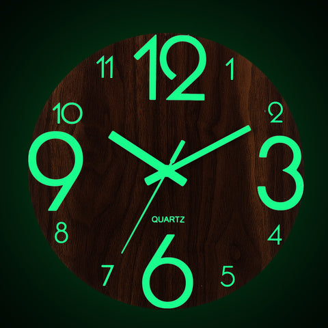 "12"" Luminous Large Wall Clock Quartz Wooden Silent Non Ticking Dark Brown Modern Round Home Room Office Décor"