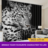 Tiger Leopard Wildcat Animal 3D Blockout Kids Curtain
