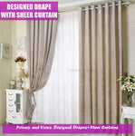 Window Curtain Classic Beige Creamy Fabric Design Drapes