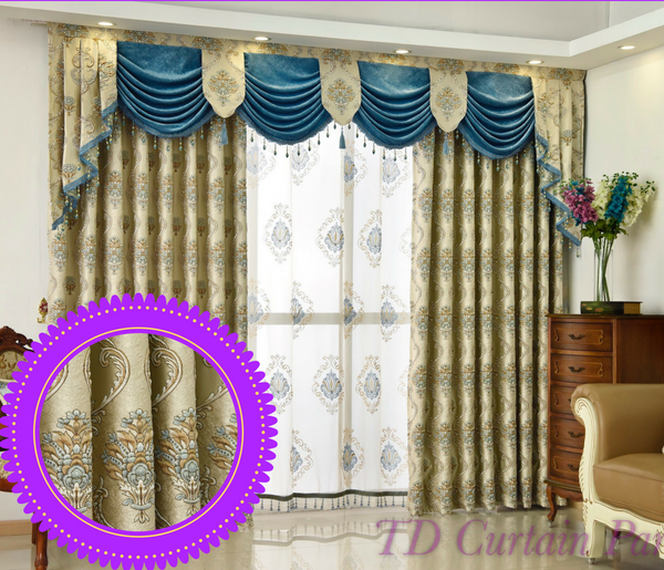 Beige Creamy Ivory Quality Jacquard Swag Valance Curtain