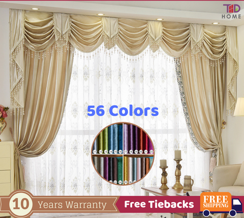 Beige Luxury Italian Velvet European Style Swag Curtain
