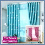 Blockout Kids Curtain Bedroom Fabric Blue Pink Cloud Drapes