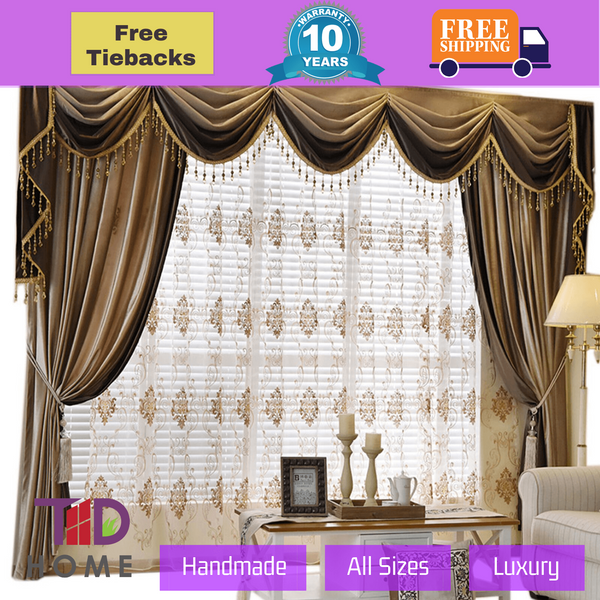 Blackout Blended Coffee Swag Curtains Italian Velvet Fabric Beaded Drapes Sheer