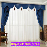 Blue European Style Blockout Bedroom Swag Curtain