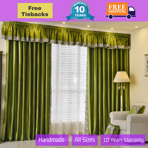 Blockout Curtain Emerald Green Swag Valance Pelmet Drapes
