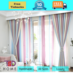 Blockout Fabric Stripes Sky Pink Drapes Curtain Bedroom