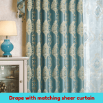 Blue Teal Blackout Swag Valance Sheer Drapes Curtain