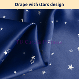 Ocean Blue Stars Kids Bedroom Blockout Curtains