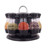 8 Jars Rotating Kitchen Spice Rack Bottle Storage Holder Condiments Container