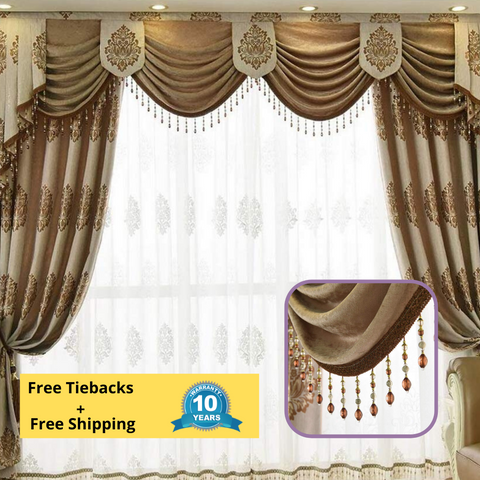 Brown Coffee Jacquard Swag Curtain Blockout Drapes