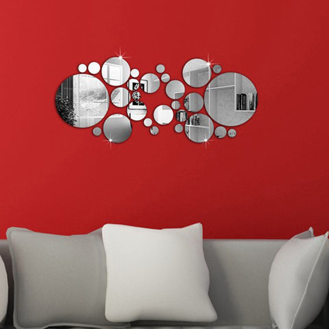 28Pcs 3D Round Mirror Stickers Modern Art Acrylic Decals Silver Removable Adhesive Wall Sticker DIY Home Décor
