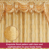 Luxury Gold Swag Curtain Valance Waterfall Floral Damask Jacquard
