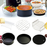 6Pcs Universal Air Fryer Accessory Set Cake Barrel, Pizza Pan, Silicone Mat, Metal Holder, Skewer Rack, Bread Shell, Barbecue Baking Kitchen Tool