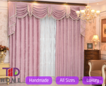 Pink Majestic Chenile Fabric Blackout Swag Curtains