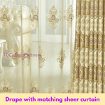 Blackout Gold Luxury Jacquard Swag Curtain Drape