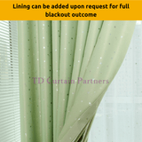 Apple Green Stars Kids Bedroom Curtain Blackout Drapes
