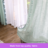 Luxury Sheer Curtain Green Tassel Design Drapes