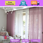 Luxury Pink Sheer Curtain Drapes