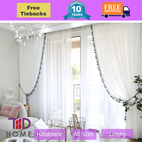 Luxury Sheer Fabric Beige White Curtain Tassel Drapes Design