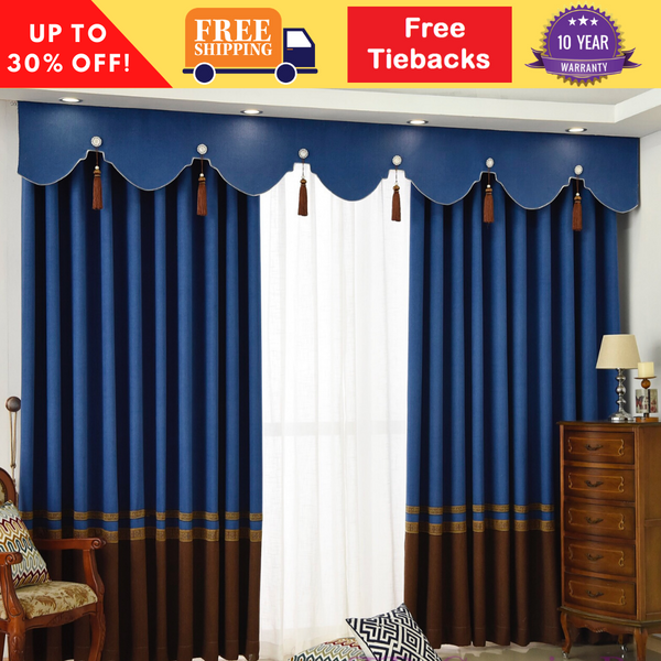 Majestic Blue European Style Swag Curtain Blackout Fabric