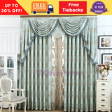 Teal Blue European Swag Blackout Drape Sheer Curtain