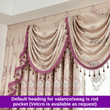 Luxury European Style Pink Swag Blockout Curtain