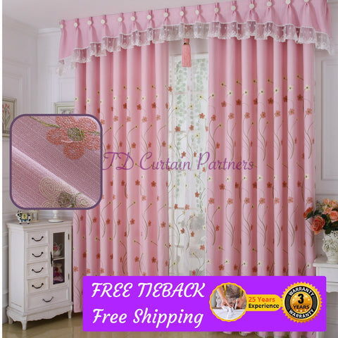Pink Floral Embroidery Girls Bedroom Curtain Drapes