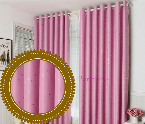 Pink Stars Drapes Kids Girl Bedroom Blockout Curtains