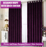 Purple Curtain Top Quality Chenille Drapes for Bedroom