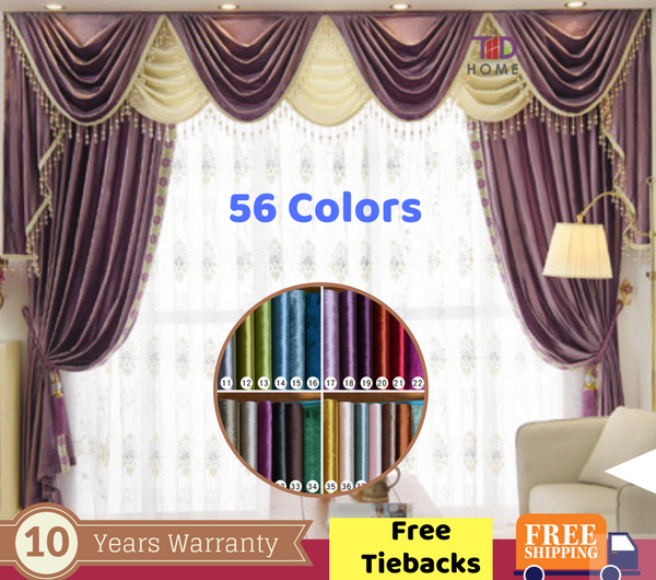 Purple Luxury Velvet Curtain Swag Valance European Style