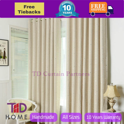Blockout Beige Ivory Cream Drapes Stars for Kids Room