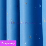 Blockout Kids Room Curtain Sky Blue Star Drapes